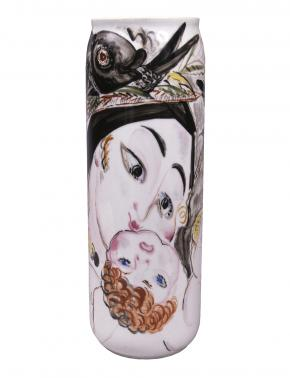 "Cylindrical Vase with the Image ""Mother and Child"" and a Man's Head Surrounded by Fish"