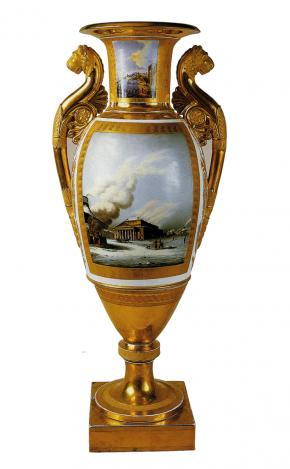 View of the Bolshoi Theatre in St Petersburg. Vase