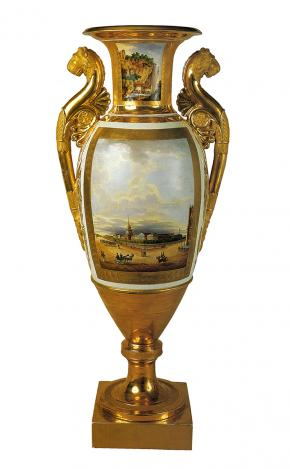 View of the Admiralty in St Petersburg. Vase