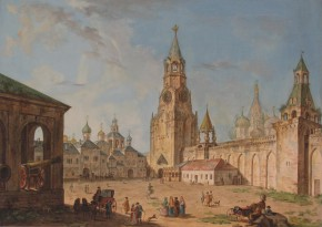 Moscow. Kremlin. View of the Spasskaya Tower. (View onto the Spassky Gate in the Kremlin)