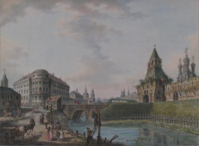 Moscow. View of the Gate and Walls of Kitay-Gorod (View of Ilyinsky Gate and the House of Countess V. Razumovskaya)