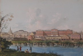 View of the City on the River Bank (View onto the Moscow University Building from the Neglinnaya River)
