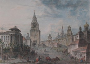 View of the Spassky Gate in Moscow (View of the Spassky Gate from the Kremlin)