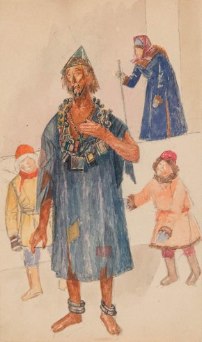 Sketch for a Holy Fool's costume for the Boris Godunov performance