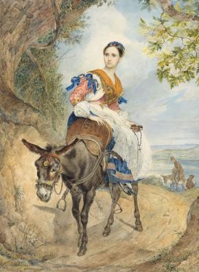 Portrait of Countess Olga Pavlovna Fersen on a Donkey