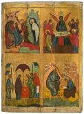 The Raising of Lazarus, The Old Testament Trinity, The Purification, STs. John the Theologian and Prochorus. Four-parts icon