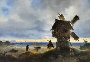 A Windmill on the Shore of the Sea