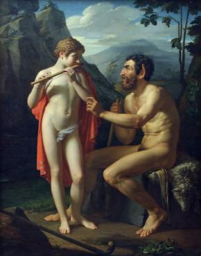 Faun Marsyas Teaches Olympus to Play the Flute