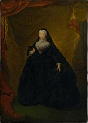 Portrait of Empress Elizabeth I Petrovna in a Black Masquerade Domino with Mask in her Hand