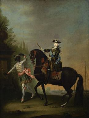 Equestrian Portrait of the Empress Elizabeth Petrovna with a Little Negro Footboy