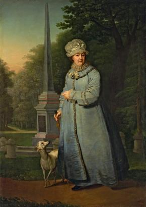 Catherine II Promenading in the Tsarskoye Selo Park (With the Obelisk to Count Pyotr Rumyantsev's Victories in the Background)