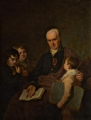 Portrait of the Artist and Art Teacher Kirill Golovachevsky with Three Pupils of the Imperial Academy of Arts