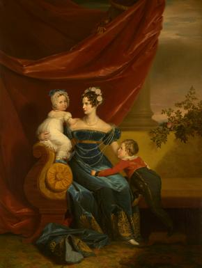 Portrait of Grand Duchess Alexandra Fyodorovna. Wife of Grand Duke Nicholas Pavlovich, with her Children Grand Duke Alexander Nikolaevich, Later Emperor Alexander II, and Grand Duchess Maria Nikolaevna, Later Wife of Duke Maximilian Josephe Eugene of Leuchtenberg and  Count Grigory Stroganov