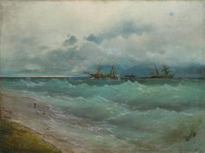 Ships on the Stormy Sea. Sunrise