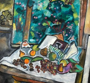 Still Life with Fruit, Open Book and Pot Flowers