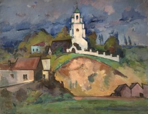 Verkhnie Kotly. Landscape with a Church