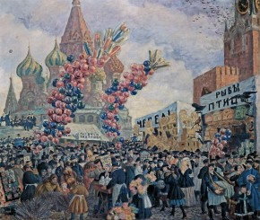 Palm Sunday Market near the Saviour Gate on Red Square, Moscow