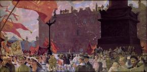 Festivities in Honour of the Second Comintern Congress on 19 July 1920. Demonstration on Uritsky Square (now Palace Square)