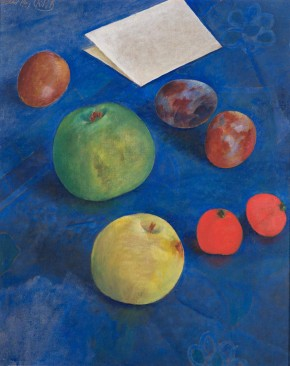 Fruit on a Blue Tablecloth