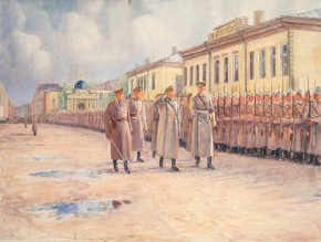 Inspection of the Izmailovsky Regiment Before Leaving for the Front