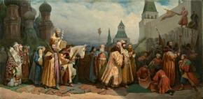 Palm Sunday in Moscow Under Tsar Alexis Mikhailovich. Procession of the Patriarch on a Donkey