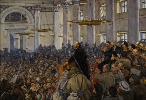 First Appearance of Vladimir Lenin at the Petrosovet Meeting at Smolny on 25 October 1917