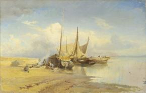View of the Volga. Barques