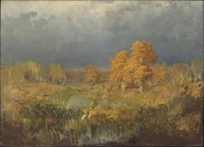 Marsh in a Forest. Autumn