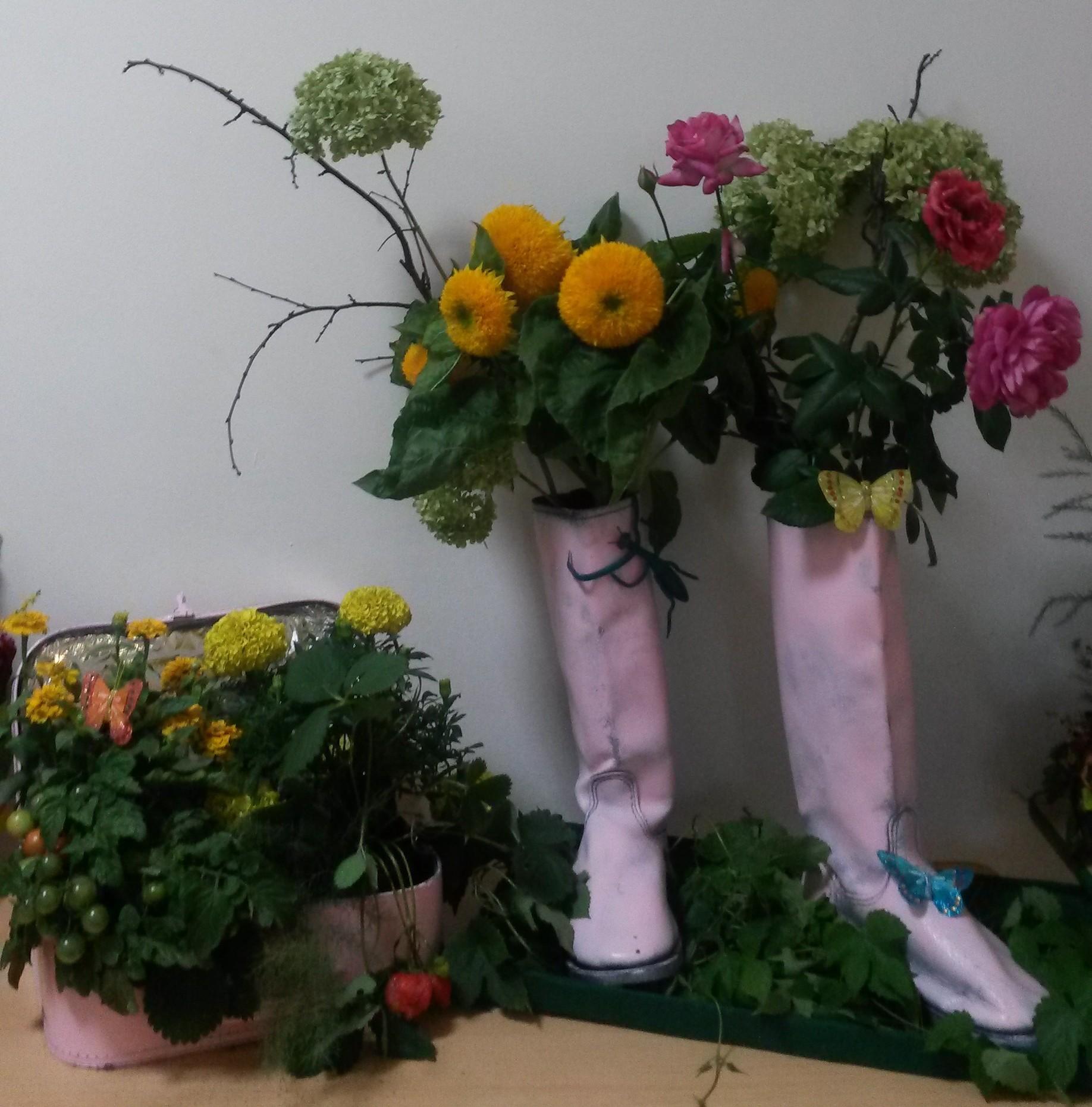 Фото композиций из живых цветов на выставку